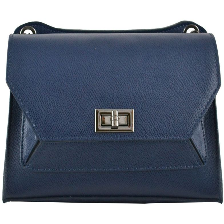 Borsa a Tracolla Cuba in vera pelle Blu Made in italy