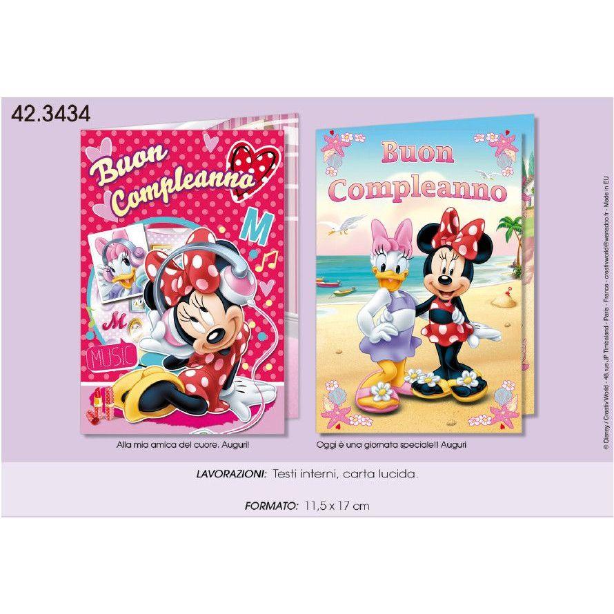 Disney Biglietto Di Auguri Per Compleanno Minnie 11 5 X 17 Cm 423434 631 Assortiti No Scelta